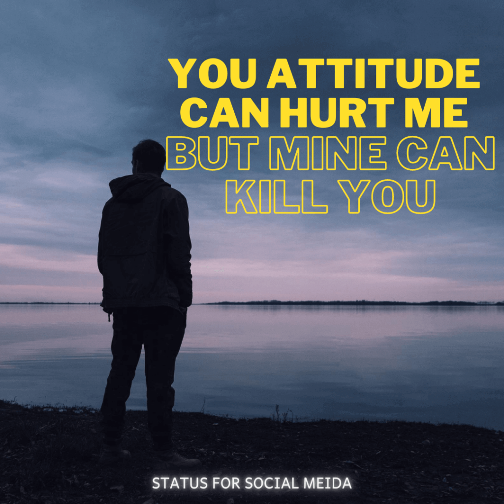 You Attitude Can Hurt Me But Mine Can Kill You. STATUS FOR SOCIAL MEDIA